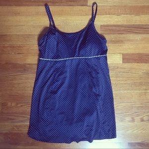 LLBEAN  NAVY & POLKADOT MODEST SWIM DRESS #595